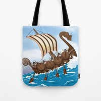 vikings Tote Bags featuring The Vikings by Nick's Emporium Gallery
