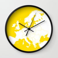 europe Wall Clocks featuring EUROPE YELLOW by SebinLondon