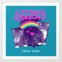 Kittens & Rainbows Art Print