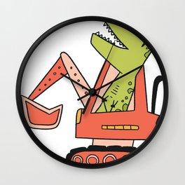 Excavator Dinosaur Wall Clock