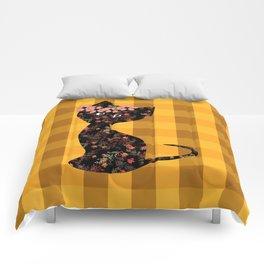 Yellow plaid, cat Comforters