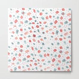 Hand painted pink teal watercolor brushstrokes polka dots pattern Metal Print