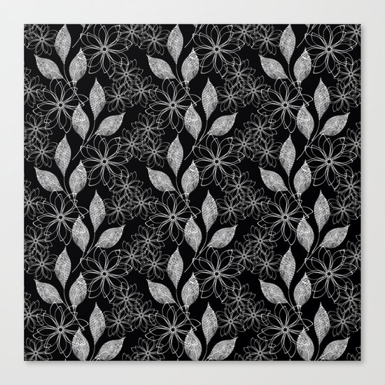 Abstract floral black and white pattern. Canvas Print