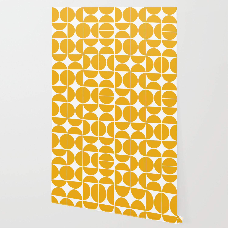 Picture of: Mid Century Modern Geometric 04 Yellow Wallpaper By Theoldartstudio Society6