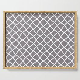 Light gray and white curved grid pattern Serving Tray
