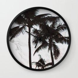 Velvet Palm trees on marble Wall Clock