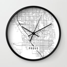 Provo Map, USA - Black and White Wall Clock
