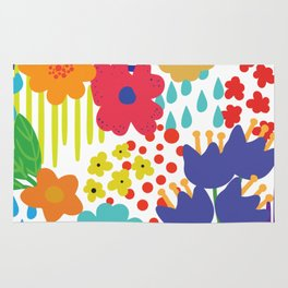 Colorful flowers and Shapes Rug