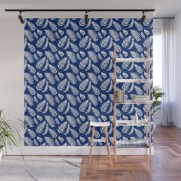 Woodland Fern Pattern, Cobalt Blue and White Wall Mural