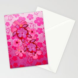 Pink Hibiscus And Honu Turtles Stationery Cards