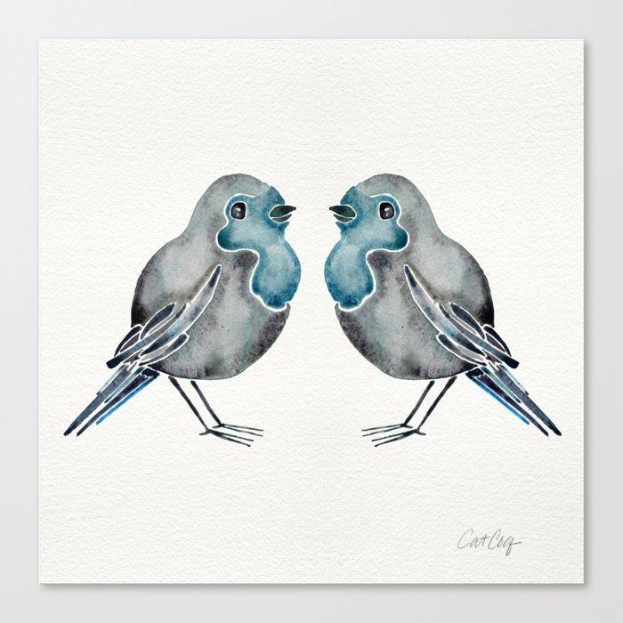 Little Blue Birds Canvas Print