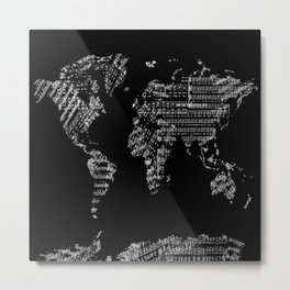 world map music vintage black 1 Metal Print