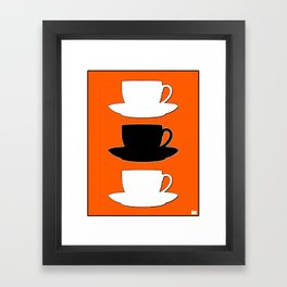 Retro Coffee Print - Black & White Cups on Burnished Orange Background Framed Art Print