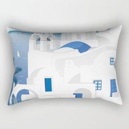 Vintage Santorini poster Rectangular Pillow