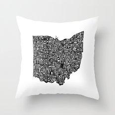 Typographic Ohio Throw Pillow