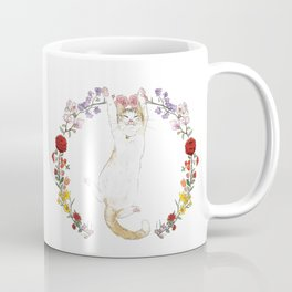 Fuku the Cat in Floral Wreath Coffee Mug