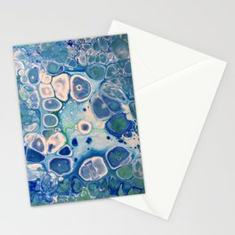 Blue Green Cells Fluid Pour Art Marble Swirls Stone Stationery Cards