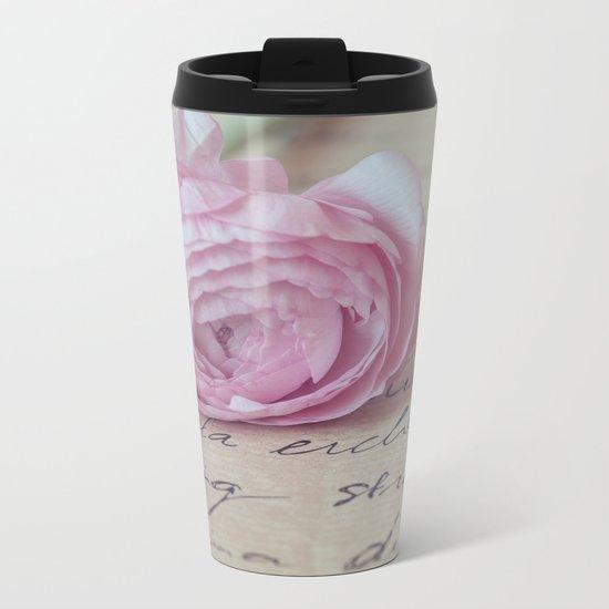 Love Letter With Ranunculus Metal Travel Mug
