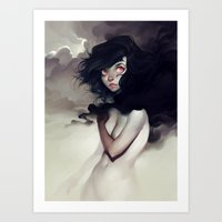 clouds Art Prints featuring Dark Clouds by loish