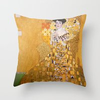gustav klimt Throw Pillows featuring Gustav Klimt - The Woman in Gold by Elegant Chaos Gallery