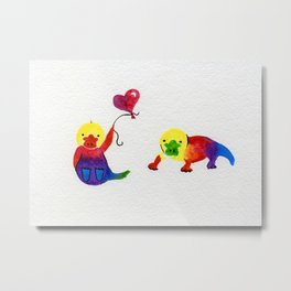Little Rainbow Platypus Metal Print