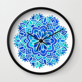 Mandala Iridescent Blue Green Wall Clock