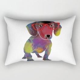 hipster dachshund Rectangular Pillow