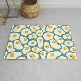 Kawaii Fried Eggs Pattern Rug