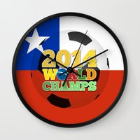 chile Wall Clocks featuring 2014 World Champs Ball - Chile by crouchingpixel