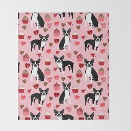 Boston Terrier valentines day cupcakes heart love dog breed must have gifts Throw Blanket