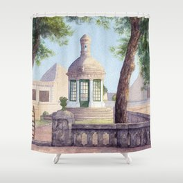 Tiny old mediterranean chapel Shower Curtain