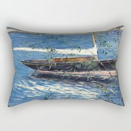 Gustave Caillebotte, Boat moored on the Seine at Argenteuil Rectangular Pillow