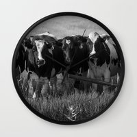 cows Wall Clocks featuring Cows by Julie Luke