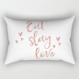 Eat slay love - rose gold quote Rectangular Pillow