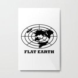 Flat Earth (Black) Metal Print