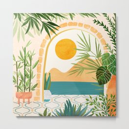 Villa View / Tropical Landscape Metal Print