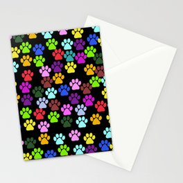 Dog Paws, Trails, Paw-prints - Red Blue Green Stationery Cards