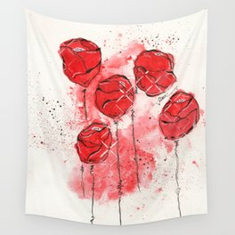 Crimson and Cream Splotch Floral Wall Tapestry