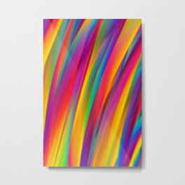 Abstract Colorful Decorative Wavy Pattern Metal Print
