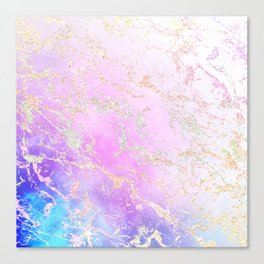 Modern rainbow glitter marble on nebula watercolor ombre Canvas Print
