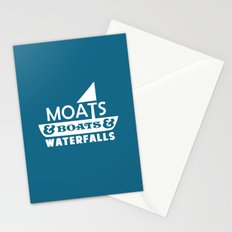 Moats and Boats and Waterfalls Graphic in Blue Stationery Cards