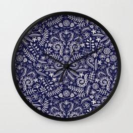 Chalkboard Floral Doodle Pattern in Navy & Cream Wall Clock