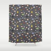 starwars Shower Curtains featuring Starwars pattern by Slambear