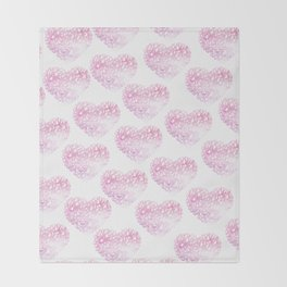 Blush pink watercolor abstract watercolor hearts pattern Throw Blanket