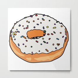 White Frosted Donut Metal Print
