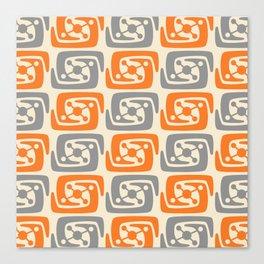 Mid Century Modern Galaxy Pattern 131 Orange and Gray Canvas Print