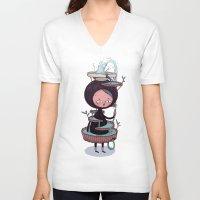 suit V-neck T-shirts featuring Bath Suit by Kensausage