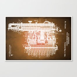 Type Writing Machine Patent Blueprint Drawings Sepia Canvas Print