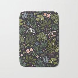 Herbarium ~ vintage inspired botanical art print ~ black Bath Mat