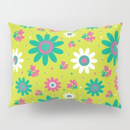 Retro Fall 60's Sunflower Floral in Lime Green Pillow Sham